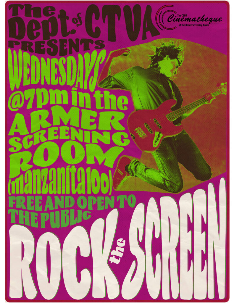 60s style rock poster with guitarist jumping in the air for CSUN Rock the Screen